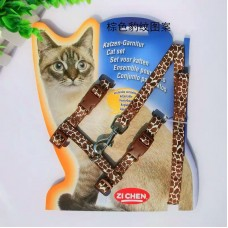 Cat Harness with Leash Design Leopard Brown