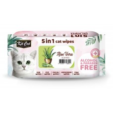 Kit Cat 5 in 1 Cat Wipes 80's Aloe Vera