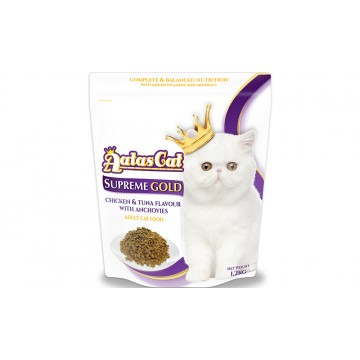 Aatas Cat Supreme Gold Chicken & Tuna Flavour With Anchovies 1.2kg