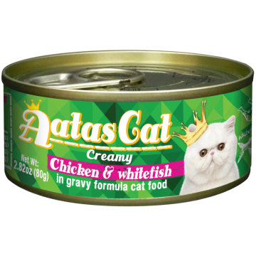 Aatas Cat Creamy Chicken & Whitefish 80g Carton (24 Cans)