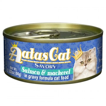Aatas Cat Savory Salmon & Mackerel 80g Carton (24 Cans)