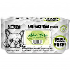 Absorb Plus Pet Wipes Antibacterial 80's Aloe Vera (2 Packs)