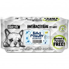 Absorb Plus Pet Wipes Antibacterial 80's Baby Powder (2 Packs)