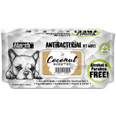 Absorb Plus Pet Wipes Antibacterial 80's Coconut (2 Packs)