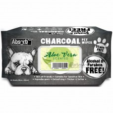 Absorb Plus Pet Wipes Charcoal 80's Aloe Vera (2 Packs)