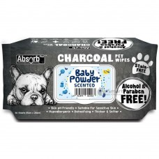 Absorb Plus Pet Wipes Charcoal 80's Baby Powder