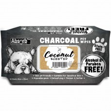 Absorb Plus Pet Wipes Charcoal 80's Coconut (2 Packs)