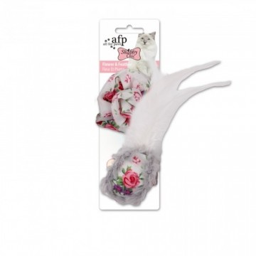 AFP Shabby Chic Cat Flower & Feather Black Ball Toy