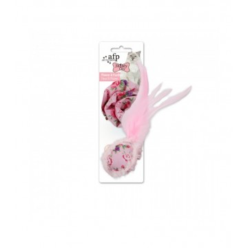 AFP Shabby Chic Cat Flower & Feather Pink Ball Toy