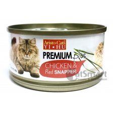Aristo Cats Premium Plus Chicken & Red Snapper 80g Carton (24 Cans)