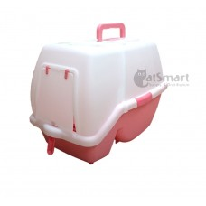 Armonto Hooded Cat Litter Tray Pink