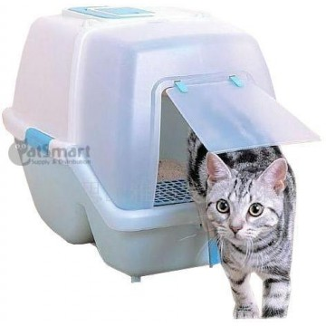 Armonto Hooded Cat Litter Tray Blue