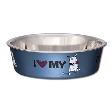 Loving Pets Bella Bowls Expressions I Love My Dog Steel Blue (S)