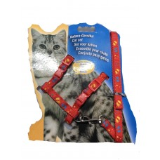 Cat Harness with Leash Design Doggy Red