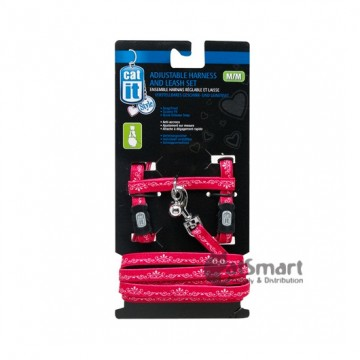 Catit Adjustable Harness & Leash Set (M) Red