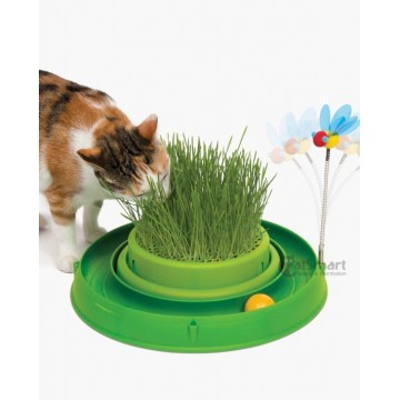 Catit Play 3-In-1 Circuit Ball Toy With Cat Grass