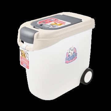Catidea Luxury Double Open Petfood Container 10kg Cream