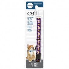 Catit Adjustable Nylon Collar with Rivets Purple with Pink Bows