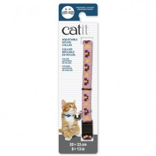 Catit Adjustable Nylon Collar with Rivets Pink with Purple Bows
