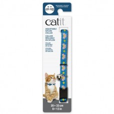 Catit Adjustable Nylon Collar with Rivets Blue with Pink Bows