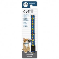 Catit Adjustable Nylon Collar with Rivets Blue with Yellow Flowers