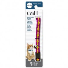 Catit Adjustable Nylon Collar with Rivets Pink with Flowers