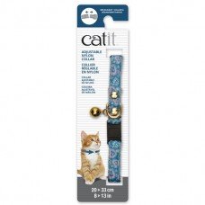 Catit Adjustable Nylon Collar with Rivets Blue with Pink Hearts