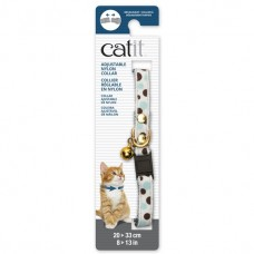 Catit Adjustable Nylon Collar with Rivets White with Polka Dots