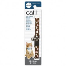 Catit Adjustable Nylon Collar with Rivets Brown with Polka Dots