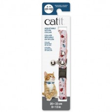 Catit Adjustable Nylon Collar with Rivets Pink and White with Ladybugs