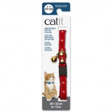 Catit Adjustable Nylon Collar with Rivets Red Nautical