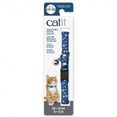 Catit Adjustable Nylon Collar with Rivets Blue with Flowers