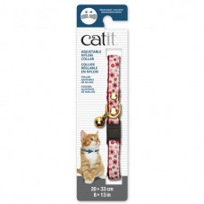 Catit Adjustable Nylon Collar with Rivets Red & White with Flowers
