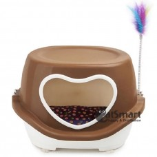 Cat House Covered with Love Door & Toy Feather Brown