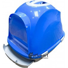 Cat Litter Box Closed With Drawer & Gridding Blue