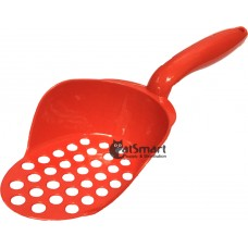 Cat Litter Scoop Oval Shape Round Holes Red