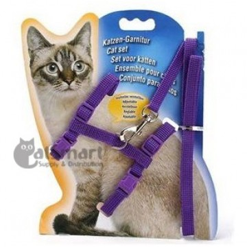 Cat Harness with Leash Plain Purple