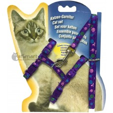Cat Harness with Leash Design Candy Purple