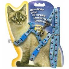 Cat Harness with Leash Design Cow Light Blue
