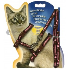Cat Harness with Leash Design Minnie Brown