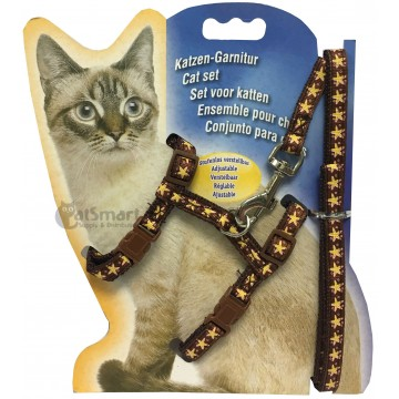 Cat Harness with Leash Design Star Brown