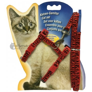 Cat Harness with Leash Design Zebra Red