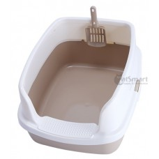Cat Litter Box Half Cover Brown