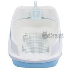 Cat Litter Box Half Cover With Net Blue