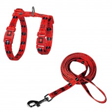 Doco Furball Cat Harness & Leash Combo Red Fish