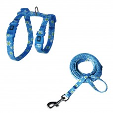 Doco Furball Cat Harness & Leash Combo Blue Flower