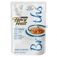 Fancy Feast Broths Classic Tuna, Shrimp & Whitefish 40g Pack (16 Pouches)