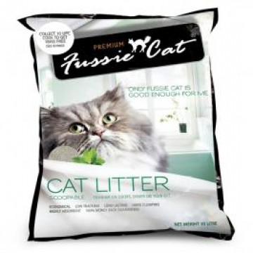 Fussie Cat Scoopable Cat Litter Unscented 10L (3 Packs)