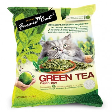 Fussie Cat Natural Paper Cat Litter Green Tea 7L
