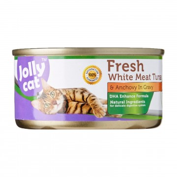 Jolly Cat Fresh White Meat Tuna And Anchovy In Gravy 80g Carton (24 Cans)